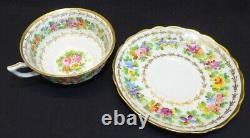 C. Ahrenfeldt Limoges 4 Coupes & Saucers Floral Peint À La Main Avec Gold Cowell Hubbard