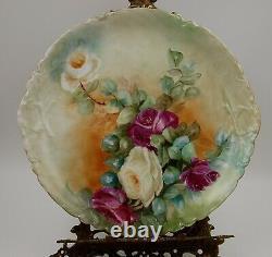Chargeur Antique De Plaque Peinte À La Main De Roses De Limoges