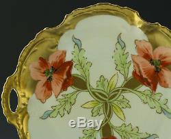 Chargeur Assiette À Gâteau Coquelicots Peints À La Main Limoges Antiques