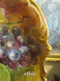 Chargeur Assiette Peinte À La Main, Limoges, France, Fruit, Signée Duval 16