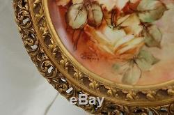 Chargeur De Plateau Encadré Peint À La Main Avec Roses De Limoges Antique