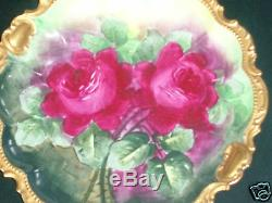 Chargeur De Roses Florales Limoges Sgd Peint À La Main, Décor, Boîte À Ombre Ornée