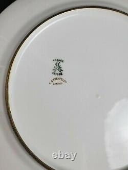 Charles Ahrenfeldt Limoges Porcelaine D'or 8 Assiettes 7 5/8 Floral Peint À La Main