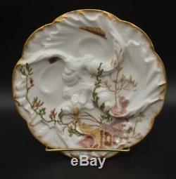 Chas Champ Haviland Limoges Moule Peint À La Main Vague Sea Life Ocean Oyster Plate C