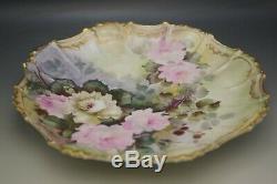 Coiffe Limoges Roses Gras 12 Platter Plaque Peinte À La Main Antique 1891-1914