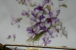 Coiffe Ls & S Limoges Peintes À La Main Violettes & Gold Festonnée Ferner & Plate Set