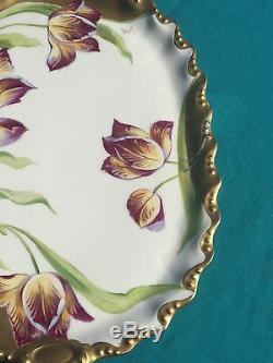 Coiffe Plateau De Limoges Artiste Signé Art Nouveau Tulipes Peintes À La Main Epais Or