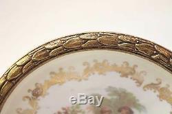 Compote Peint Antique Porcelaine Bronze Main Plat Feuille Garniture