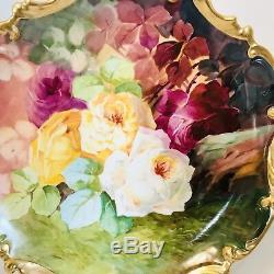 Couronne De Limoges Borgfeldt 13 Charger Plaque Roses Peintes À La Main Signé J Peyroy