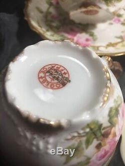 Crème Soupes Avec Sous La Plaque Peinte À La Main 1910 Akcd Limoges (9)