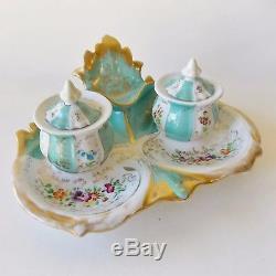 Divine Antique Paris Porcelaine Style Encrier Double Turquoise Peint À La Main