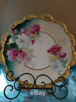 Élégant Limoges Antique Main En Porcelaine Peinte Et Signée 12 Pouces Roses Sauvages