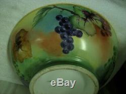 Énorme 16 Antique D & C Limoges Peinte À La Main Raisins D'or 2 Piece Punch Bowl