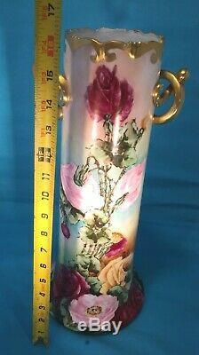 Énorme 16 Grand Style Peint À La Main Studio Porcelaine Chine Vase Limoges Roses Ex