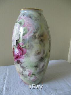 Énorme Antique Limoges France Porcelaine Peinte À La Main Vasebig Roses