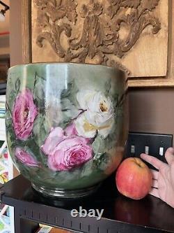 Énorme Limoges Planter Jardiniere Fleur Pot Roses Peint À La Main