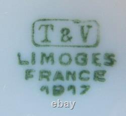 Ensemble Antique De 9 T & V Limoges France Peint À La Main Sous Les Plaques Latérales De La Mer