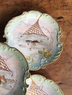 Ensemble Antique De Cinq Plaques De Poissons De Limoges Peintes À La Main Artiste Bien Marqué Signé