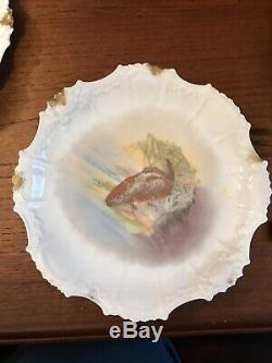Ensemble De 12 Antique Peints À La Main Limoges D'or Plaques De Jeu De Poisson Et 1 Grande Assiette