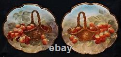 Ensemble De 12 Antiques Flammeau Coiffe Limoges Plaques Peintes À La Main C1890