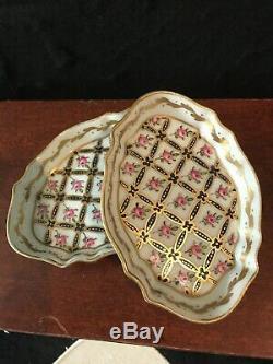 Ensemble De 4 19c Antique Porcelaine De Paris Limoges Français Peint Plat Bonbons Main
