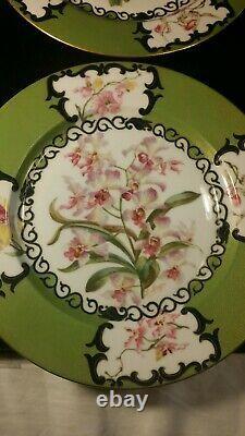 Ensemble De 4 Plaques De Limoges Peintes À La Main Orchidée Verte 10 1⁄2 Exquise