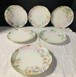Ensemble De 6 Art Nouveau Hand Painted Haviland Limoges 7.5 Luncheon Plates Roses