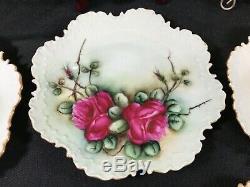 Ensemble De 9 Rosenthal Bavière Peint À La Main Plaques Florales Mccormick Festonnée 6-3 / 4