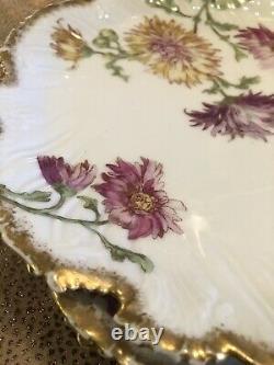 Ensemble De Neuf Vintage Gilt Rim Peint À La Main T & V Limoges France 9 Assiettes À Salade