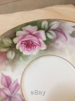 Ensemble De Tasse Et Soucoupe De Roses Peintes À La Main Limoges