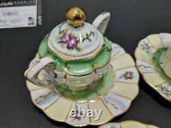 Ensemble De Thé De Limoges Floral Rose Green Gold Espresso Couvercles Soucoupes Peintes À La Main