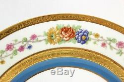 Ensemble Menthe (s) 4 Assiettes À Dîner Haviland Limoges Turquoise Fleurs Incrustées D'or