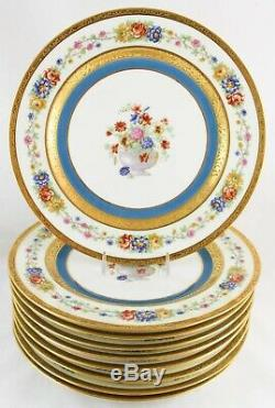 Ensemble Monnaie (s) 4 Assiettes Plates Haviland Limoges Turquoise Fleurs Incrustées D'or