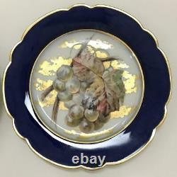 Ensemble Victorien Antique Limoges 4 Plaques De Porcelaine De Cobalt Peintes À La Main