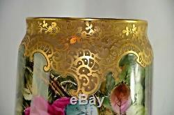 Étourdissant! D & A Limoges Antique France Vase En Porcelaine Peinte À La Main Roses16.5