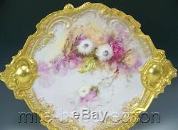 Exquis Limoges Peinte À La Main Lilacs Mamans Avec Rococo Or Poignées 15,5 Plaque