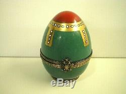 Faberge Limoges Imperial Arbres De Noël 0038 Noël Vacances Hand Painted Egg