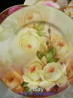Fabuleux Limoges Armoires Floral Peint À La Main Rose Peinte Ensemble De 10 Artiste Bunter