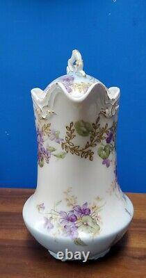 Flambeau Français Limoges Peint À La Main Pot De Chocolat Violettes Avec Couvercle Vers 1900