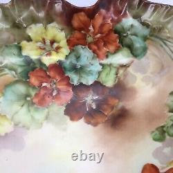 Fleurs Peintes À La Main Antiques Jean Pouyat Limoges Serving Display Bowl Signé