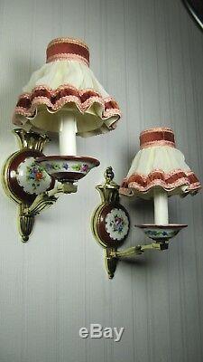 Français Antique Lampes Limoges Sevres Paire Peinte À La Main Appliques Murales En Porcelaine