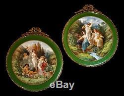 Français Antique Limoges Chateau Des Peint À La Main Paire Etoiles Porcelaine Plaques
