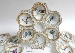 Français Antique Oyster Plate Majolique Peinte À La Main Par Guerin Et Cie, Paris Limoge