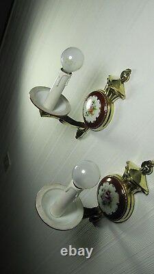 Français Lampes Antiques Limoges Sèvres Paire Peinte À La Main Mur De Porcelaine Sconces