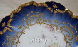 Français Porcelaine De Limoges Or La Main Bleu Peint Plaque Style Louis XV Laviolette