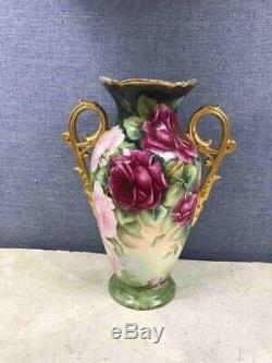Français Porcelaine Peinte À La Main Vase Rose Avec Poignées, Artiste Limoges Vase Signé