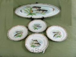 France Fish Paints Vintage Painted Set 4 Assiettes À Dîner Et 24 Assiettes Longue