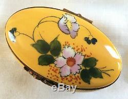 France Limoges Principal Peint Céramique Boîte Babiole Floral Vintage Peint À La Main