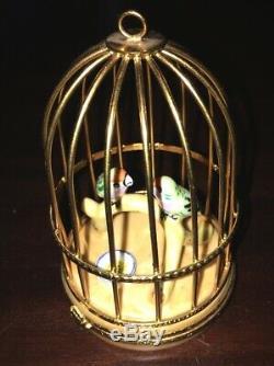 France Limoges Principal Peint En Céramique Boîte Babiole Cage À Oiseaux Vintage Peint À La Main