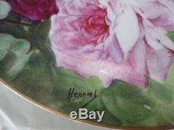 Gdg Limoges France Decores Chargeur Plate Roses Or Henrios Signé, 11 5/8 Po